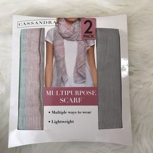Cassandra NWT Ladies Two Pack Lightweight Scarves.